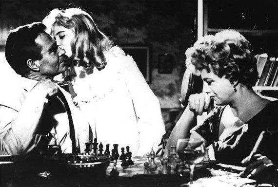 """""""Lolita"""" (1958), la adaptación de Kubrick de la obra homónima y joya de la literatura escrita por Nabokov (excelente problemista de ajedrez)"""