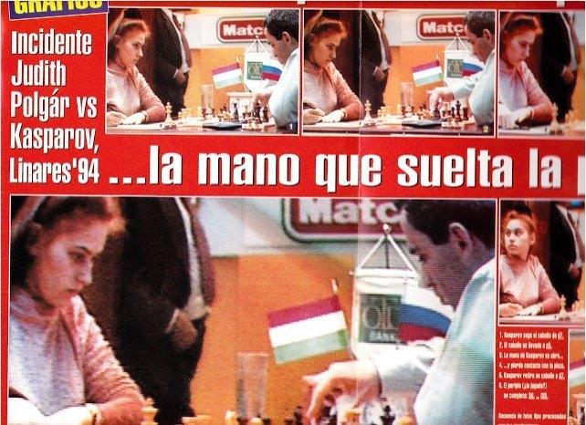 Fotogramas donde se observa que Kasparov suelta su caballo en c5