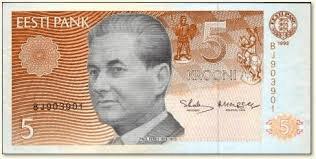 Paul Keres en un billete de 5 coronas estonias