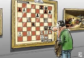 Genial dibujo de Andrés Wadalupe (Ajedrez con Humor) donde vemos la posición tras 23 ..., Dg3!