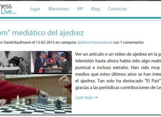 Artículo de Chesslive.com sobre el boom mediático del ajedrez