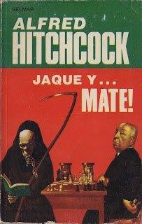 """Cubierta del libro de relatos """"Jaque y...mate!"""" escrito por Hitchcock"""