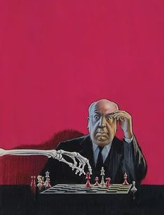 Ilustración de  Banbery   (1913–1999)     Title:Hitchcock playing chess with skeleton (1968)