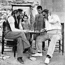 Cajal jugando al ajedrez con Federico Olóriz, catedrático de Anatomía de la Universidad de Granada