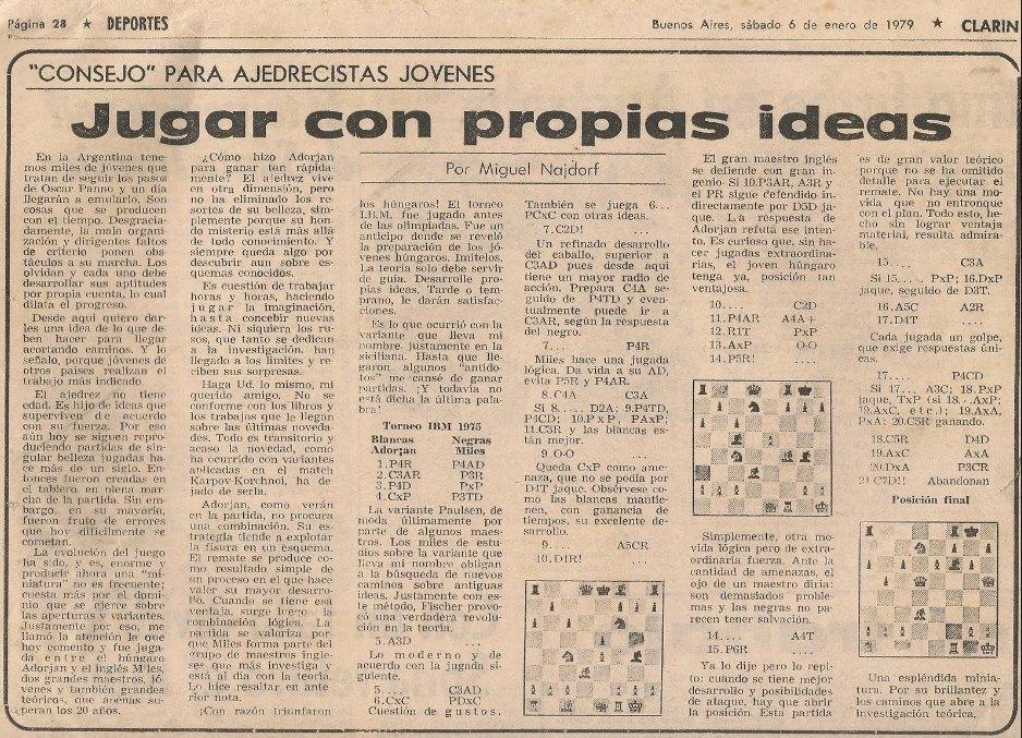 Columna sabatina de Nadjorf en el diario Clarín, año 1979.