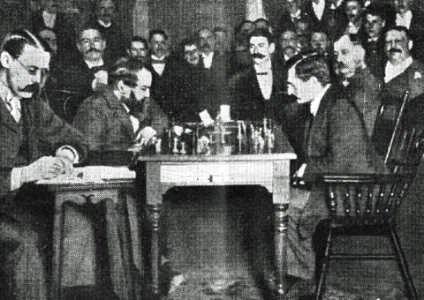 Steinitz contra Lasker. Imagen con licencia.